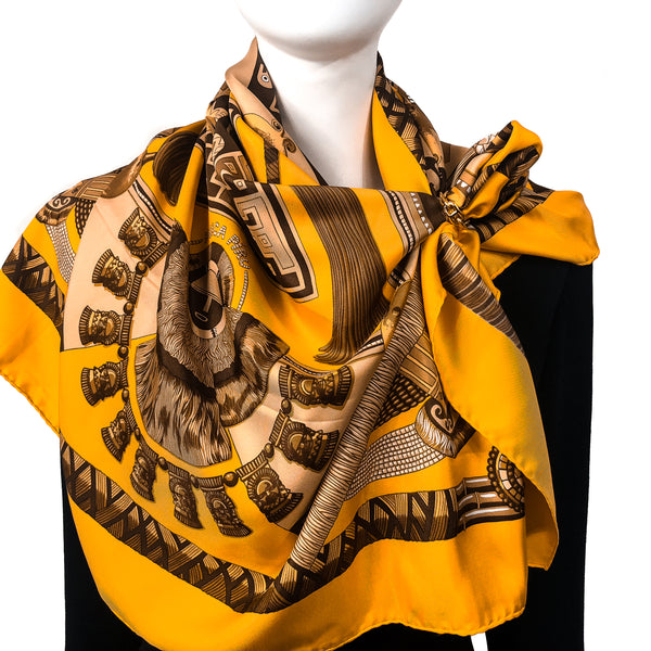 Huaca Piru Hermes Silk Scarf Yellow Orange & Brown
