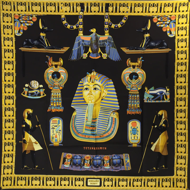 Hermes Silk Scarf Tutankhamun Black Early Issue