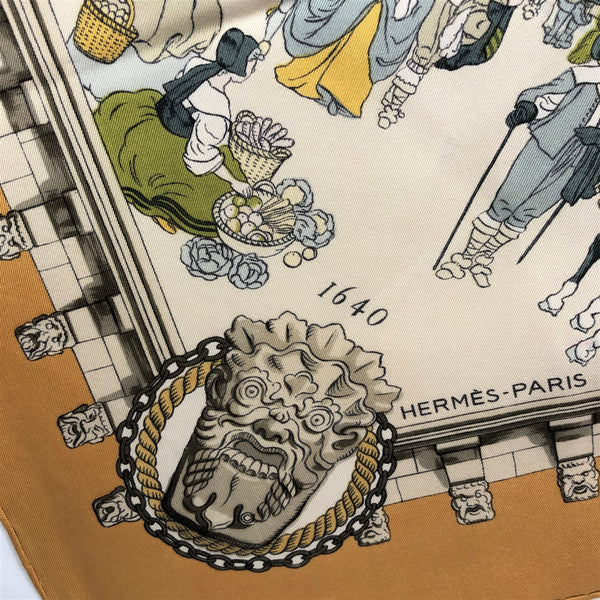 RESERVED Le Pont Neuf a Paris Hermes Scarf by Philippe Ledoux 90 cm Silk GRAIL Ocher