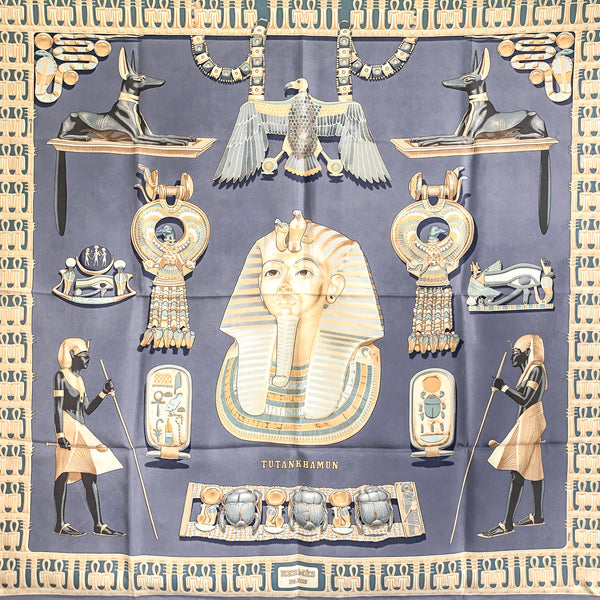 Tutankhamun Hermes Scarf by Rybal 90cm Silk in Lilac