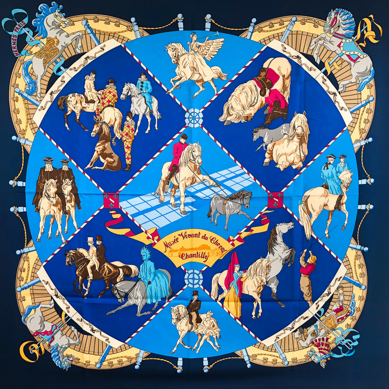 Musee Vivant du Cheval Hermes 90 cm square silk twill scarf