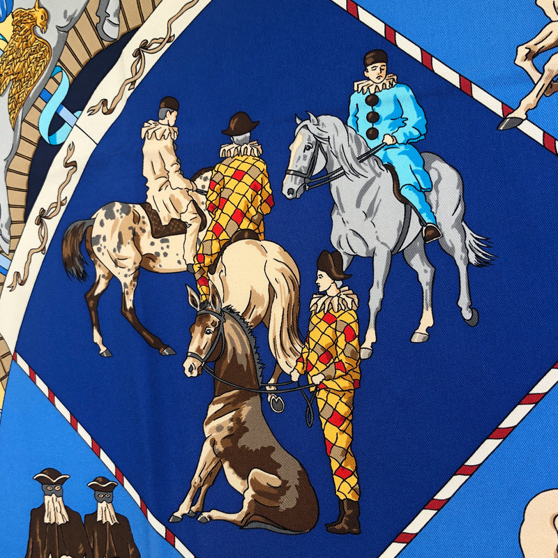 Musee Vivant du Cheval (Chantilly) Hermes scarf close up of clowns with horses