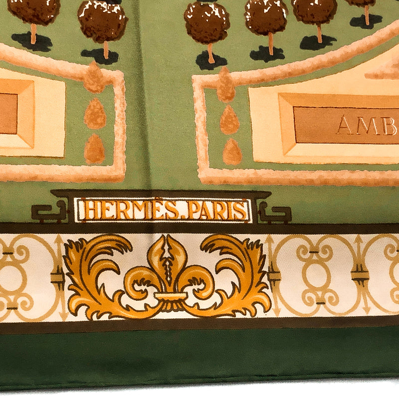 Les Jardins de Versailles silk scarf (100% silk) - Hermes Paris close up