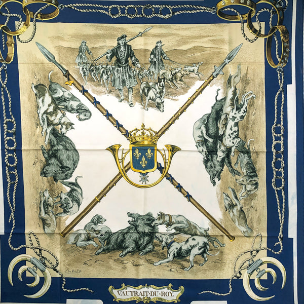 Vautrait du Roy Hermes Scarf by Hallo 1966 VERY RARE