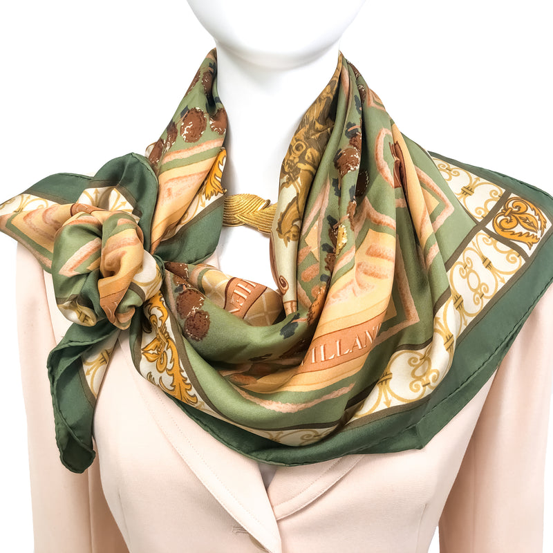 Les Jardins de Versailles silk scarf tied with a scarf ring