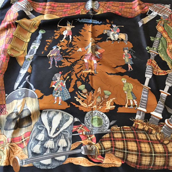 RESERVED for a Client Scotland Hermes Scarf by Ledoux 90 cm Silk