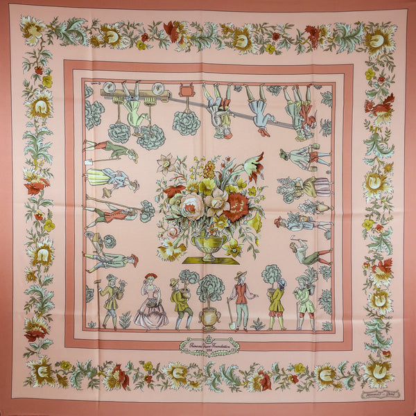 Hermes Silk Scarf Les Jardiniers du Roy RARE Princess Grace Foundation Issue
