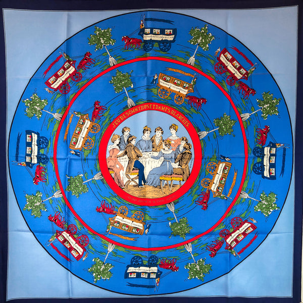 Jeu des Omnibus et Dames Blanches Hermes silk scarf in all blue colorway