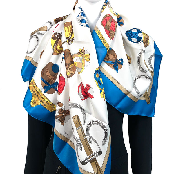 Jockey Special Issue Hermes Scarf by Philippe Ledoux 90 cm Silk Twill for the Royal Hong Kong Jockey CLub