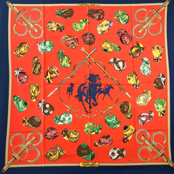 Jockey Hermes Scarf by Philippe Ledoux 90 cm Silk Twill