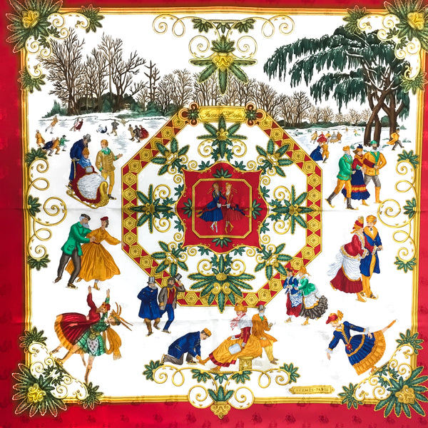 Vintage Hermes Silk Jacquard Scarf Joies D'Hiver Red Border