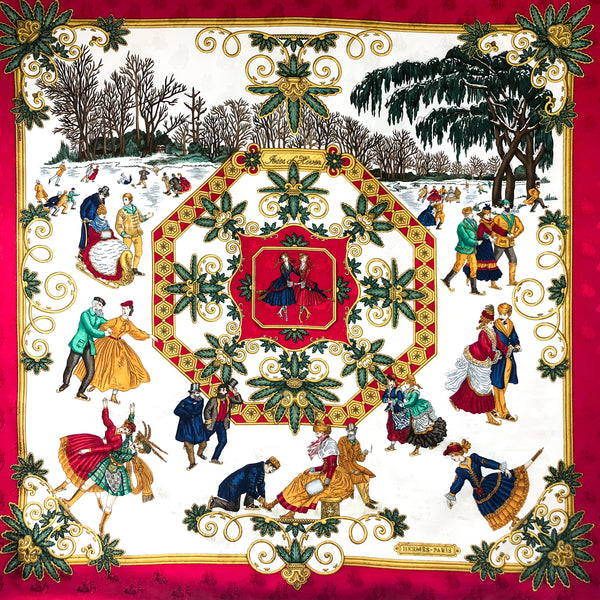 "Joies d'Hiver Hermes silk jacquard scarf 36"" x 36"""