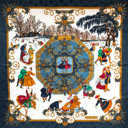 Joies d'Hiver Hermes SCARF BY Metz 90CM SILK JACQUARD
