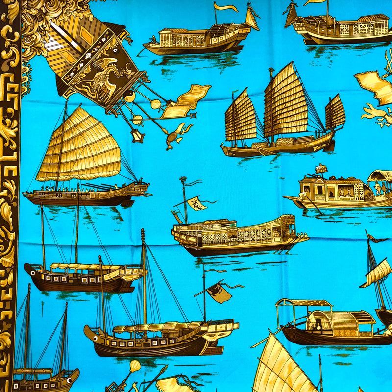 Jonques et Sampans Hermes silk scarf by Françoise de la Perriere in 1966