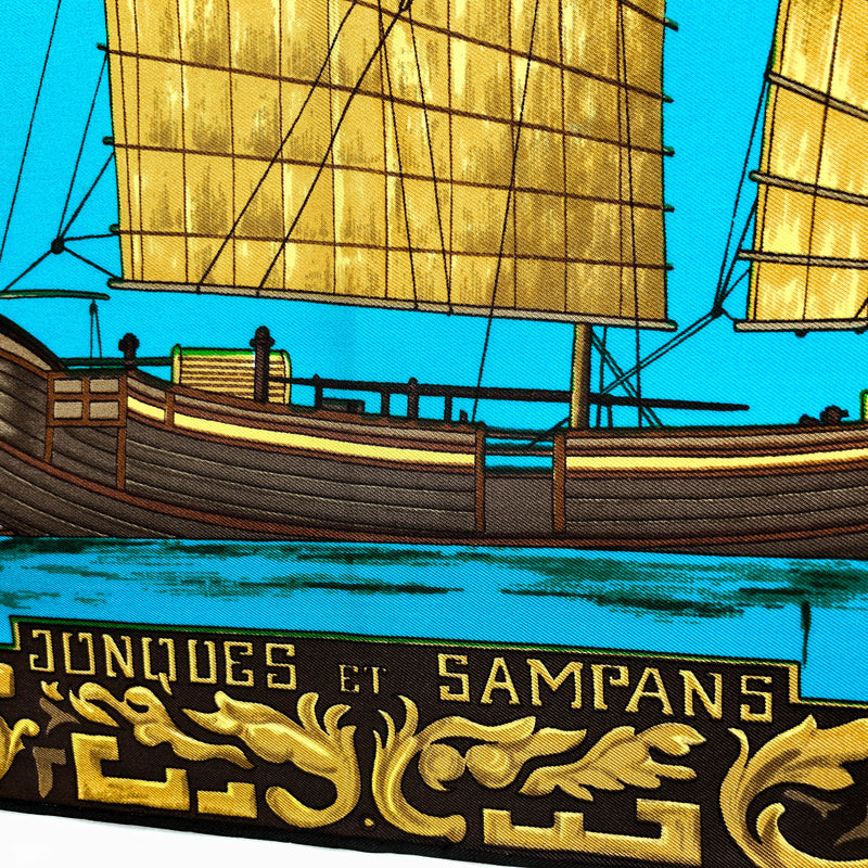 Jonques et Sampans Hermes silk scarf (100% silk) - Rare 1st Issue