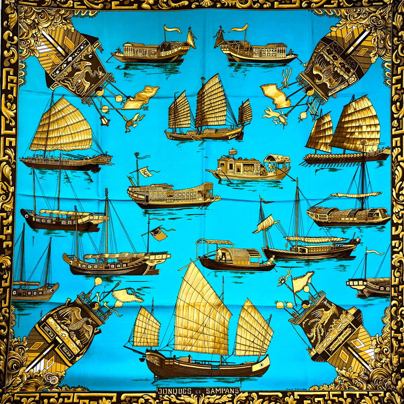 Jonques et Sampans Hermes silk scarf Turquoise/Old Gold/Brown