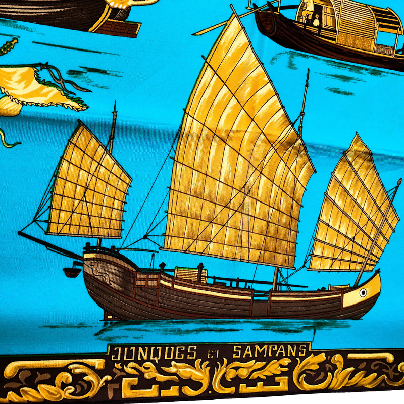 Jonques et Sampans Hermes silk scarf with early copyright