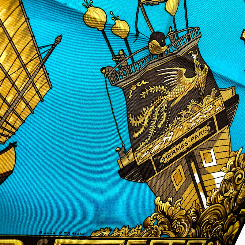 Jonques et Sampans Hermes silk scarf with Asian boats