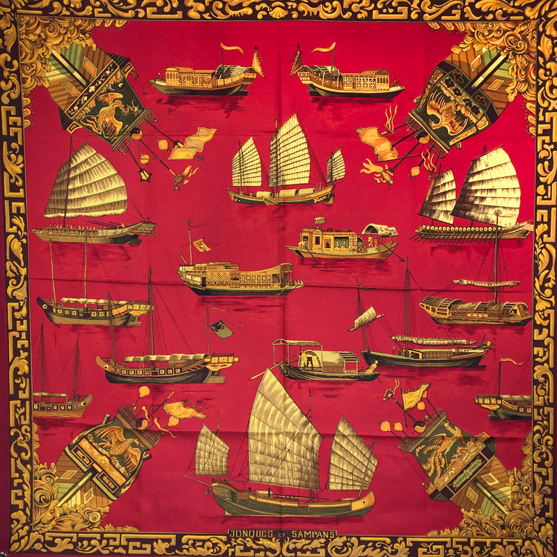Hermes Silk Scarf Jonques et Sampans Wine Red