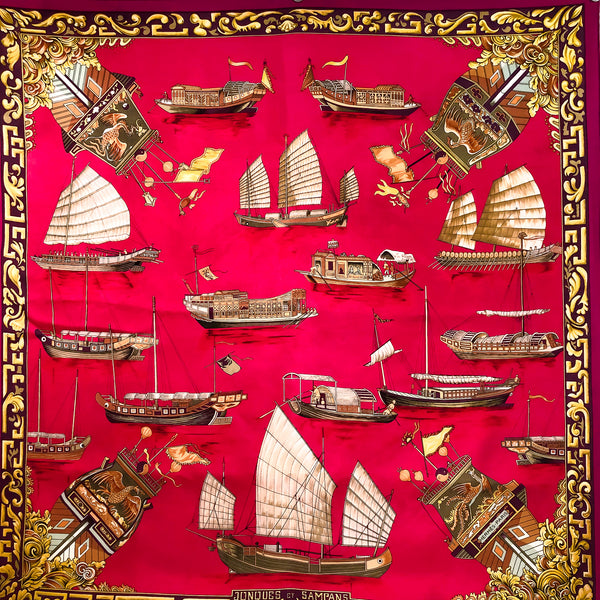 Jonques et Sampans Hermes Scarf by de la Perriere 90 cm Silk Early Issue