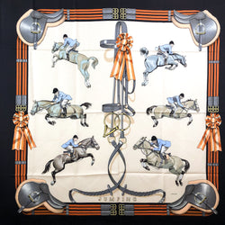 Jumping Hermes Scarf by Philippe Ledoux 90 cm Silk Brown Orange