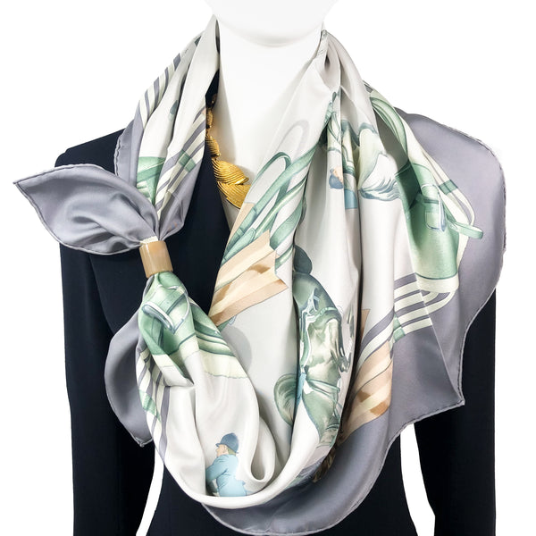 Jumping Hermes Scarf by Philippe Ledoux 90 cm Silk Grey