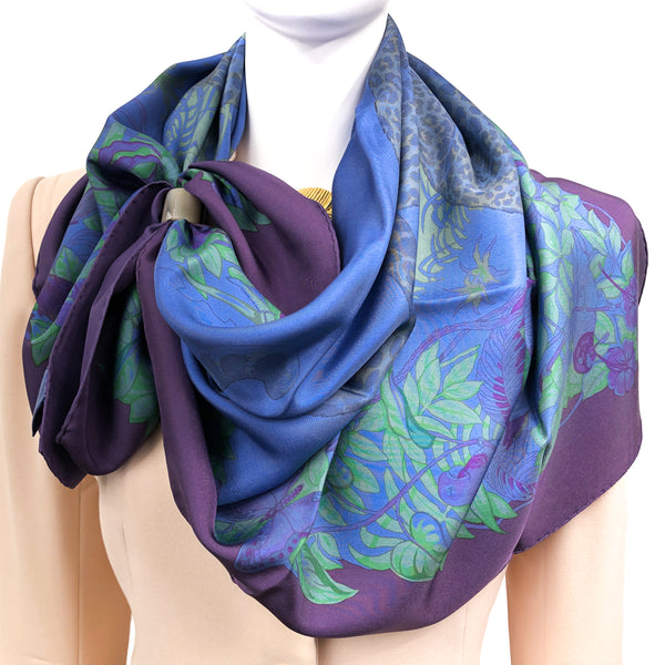 Hermes Silk Scarf Jungle Love Dip Dye drapes beautifully