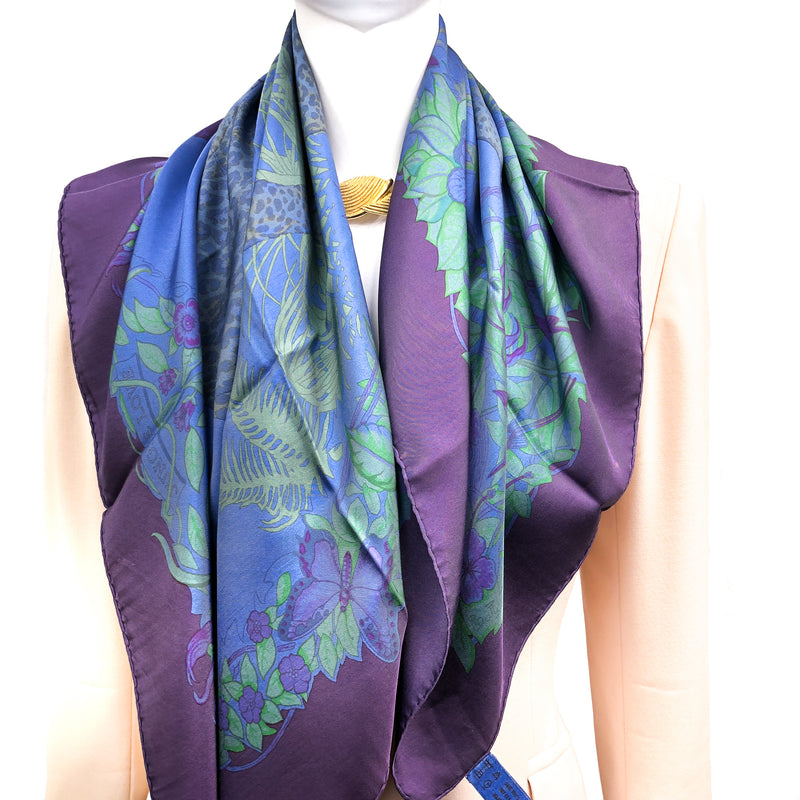 Hermes Silk Scarf Jungle Love Dip Dye in blue and purple