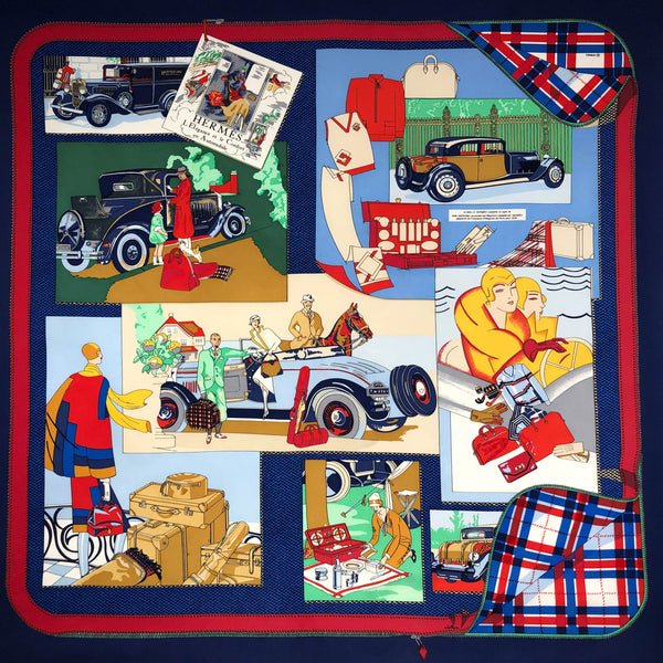 90 cm silk scarf by Hermes with cars and automobiles