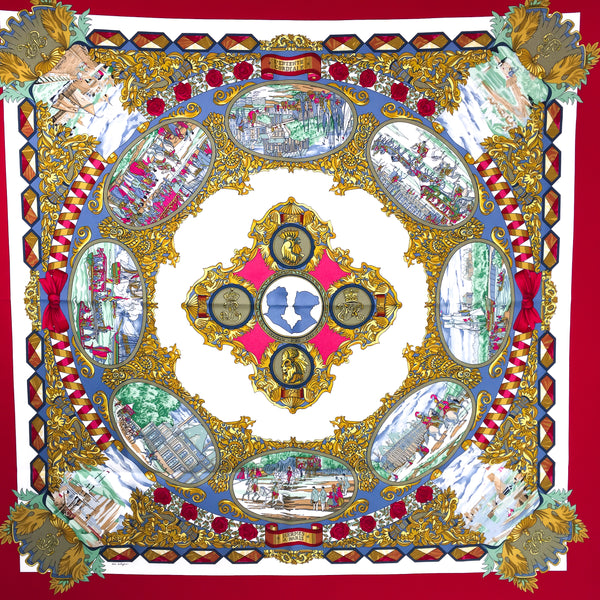 L'Entente Cordiale Hermes Silk Scarf Red Colorway 90cm twill