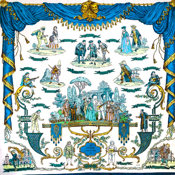 La Comedie Italienne Hermes Scarf by Ledoux 90 cm Silk Jacquard Early Issue