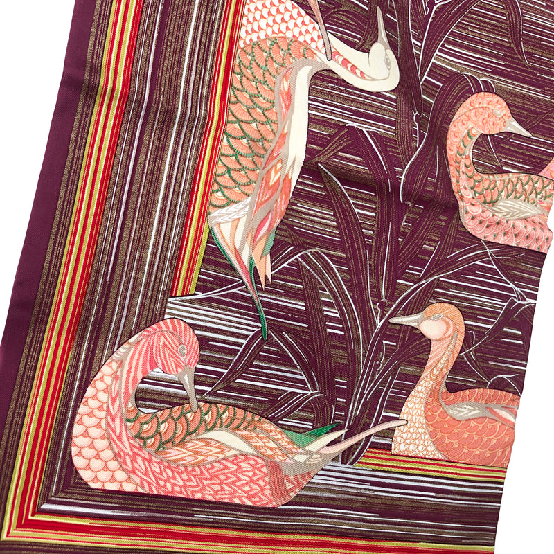 La Mare aux Canards Hermes Reversible Opera Silk Scarf or Shawl Maxi Twilly