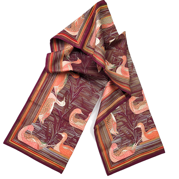 La Mare aux Canards Hermes Reversible Opera Silk Scarf or Shawl