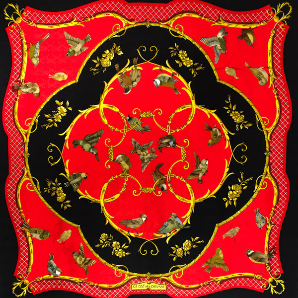 La Cle des Champs Hermes Silk Jacquard Scarf in red and black