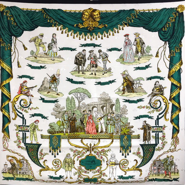 La Comedie Italienne Hermes Scarf with dark green curtain