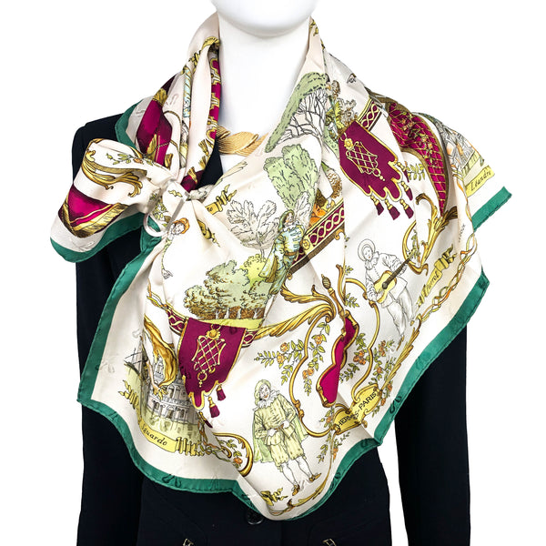 La Comedie Italienne Hermes Scarf by Ledoux 90 cm Silk Jacquard | Early Issue