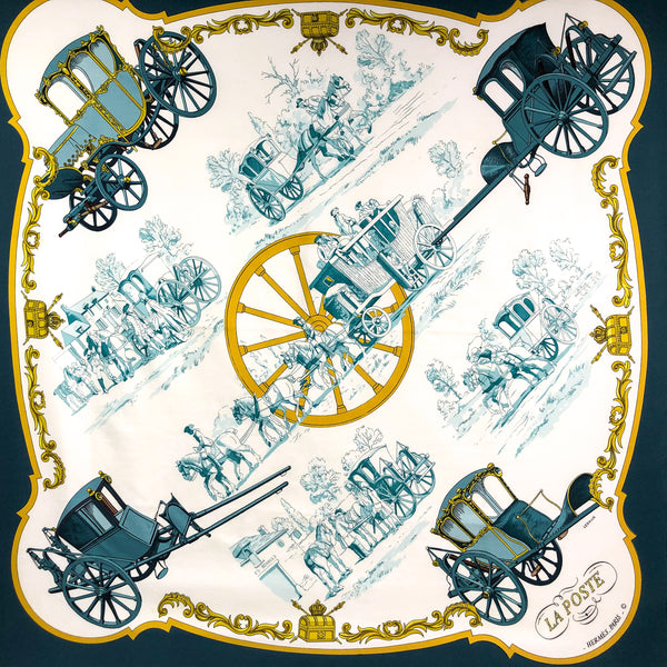 La Poste Hermes silk scarf in teal, gold on white