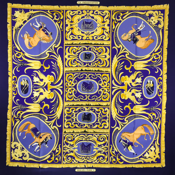La Presentation Hermes Silk Scarf Early 90 cm twill
