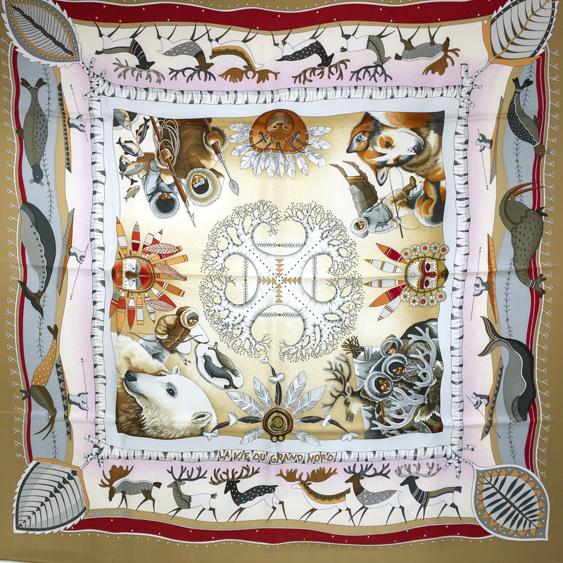La Vie du Grand Nord Hermes Silk Scarf GRAIL in unworn condition