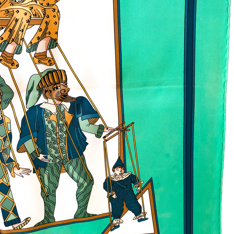 Le Temps des Marionnettes Hermes Scarf by Annie Faivre 90cm Silk UNWORN w/Some Issues