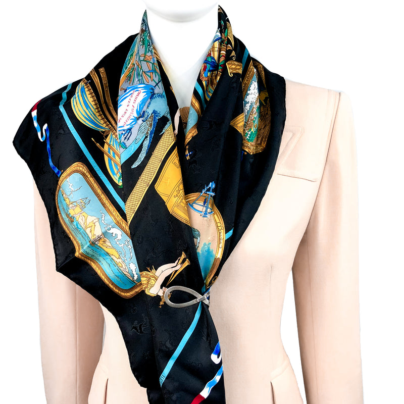 Le Geographe Hermes Silk Jacquard Scarf Early Issue Black CW