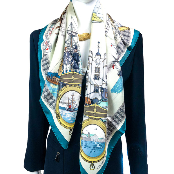 Le Tour du Monde en 80 Jours Hermes silk scarf with teal border