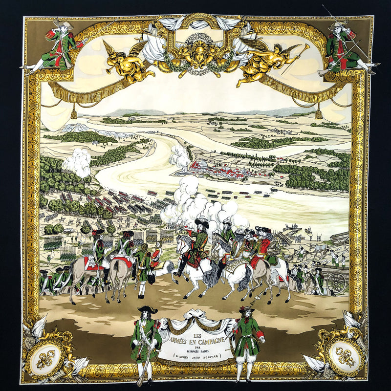 Les Armees en Campagne Hermes Scarf by Lise Coutin 90 cm Silk RARE