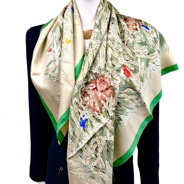 Les Bles Hermes Scarf by Hugo Grygkar 90 cm Silk Twill Early Re-Issue