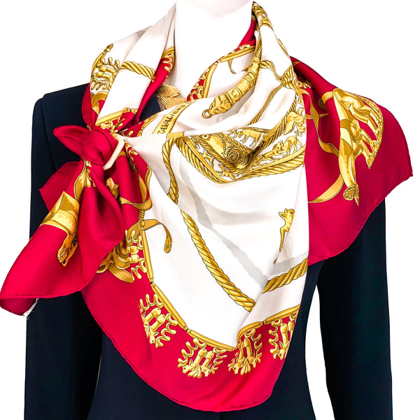 Les Cavaliers D'Or Hermes Scarf by Rybal 90 cm Silk Twill