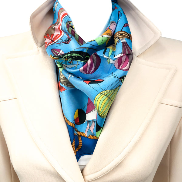 Les Folies du Ciel Hermes Pocket Square by Loic Dubigeon Silk 42 cm