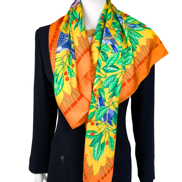 SAVE $50 TODAY - Les Merises Hermes Scarf by Antoine de Jacquelot 90 cm Silk Twill - Highly Sought After
