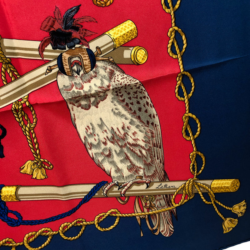 Les Oiseaux du Roy Hermes Scarf by Caty Latham 90 cm Silk Twill Red & Navy