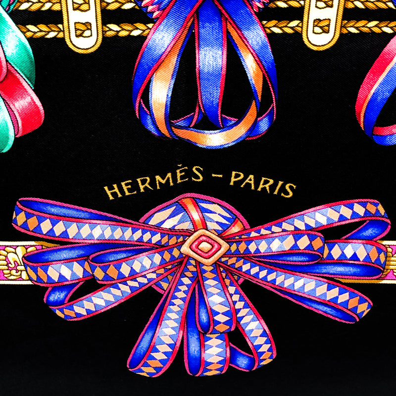 Les Rubans du Cheval Hermes Scarf by Joachim Metz 90 cm Silk Rare Black Colorway