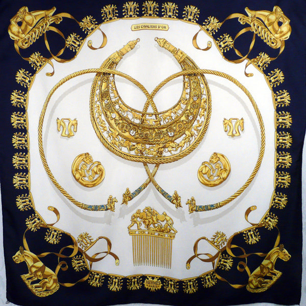 Les Cavaliers d'Or HERMES Scarf White and Navy